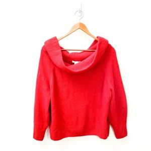 H&M Red Oversized Chunky Knit Sweater Small